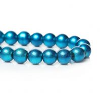 100+ Turquoise Metallic Glass Pearls 8mm